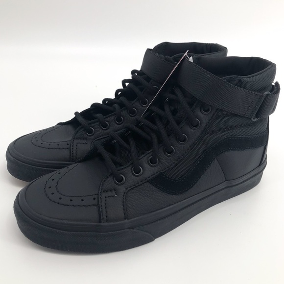 4dce0a374b VANS Mens Leather Sk8-Hi Reissue Strap Black NWT